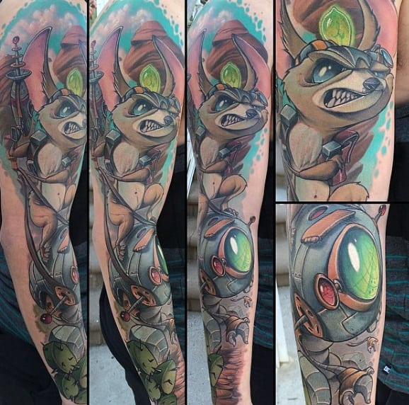 Other World Creatures New School Tattoo Mens Full Sleeves