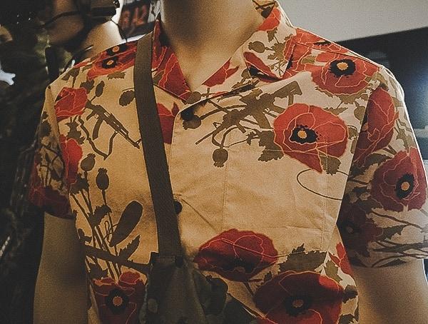 Otte Gear Hawaiian Aloha Shirt Shortless With War Themed Pattern Print For Men