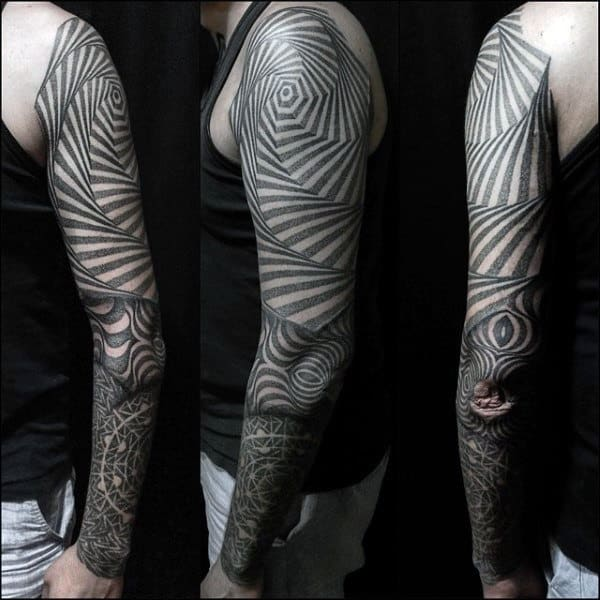 Ouroborus Geometric Male Tattoos