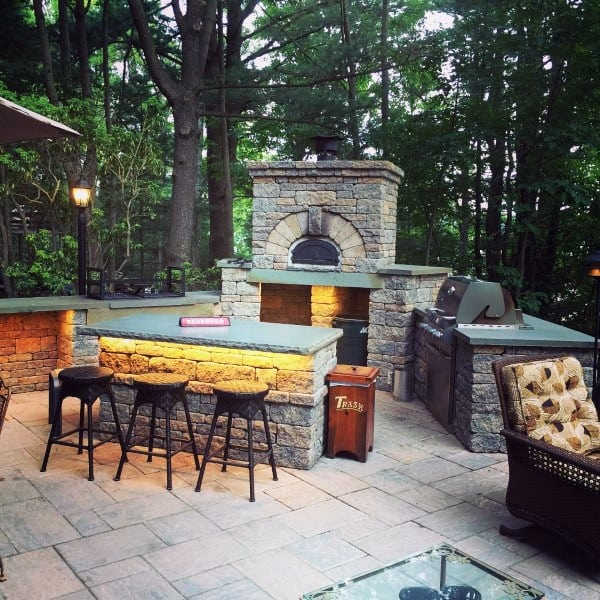 Outdoor Bar Ideas With Fireplace And Bbq Area