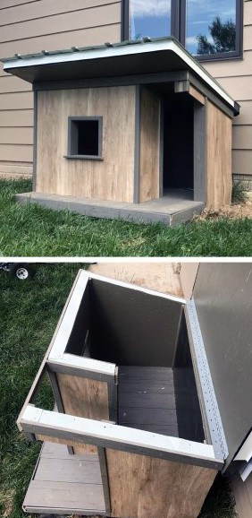 Outdoor Dog House Ideas With Hinged Roof Construction