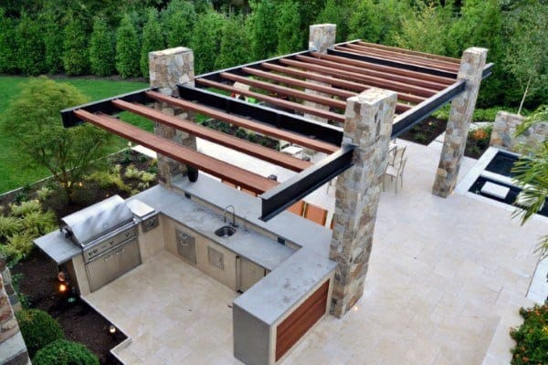 outdoor kitchen pergola covered outdoor kitchen pergola ideas top 60 best chef inspired backyard designs