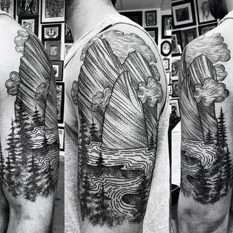 Outdoor Nature Themed Fine Line Black And Grey Tattoo For Guys