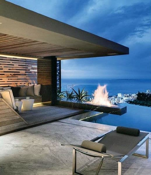 Outdoor Pool With Floating Fireplace