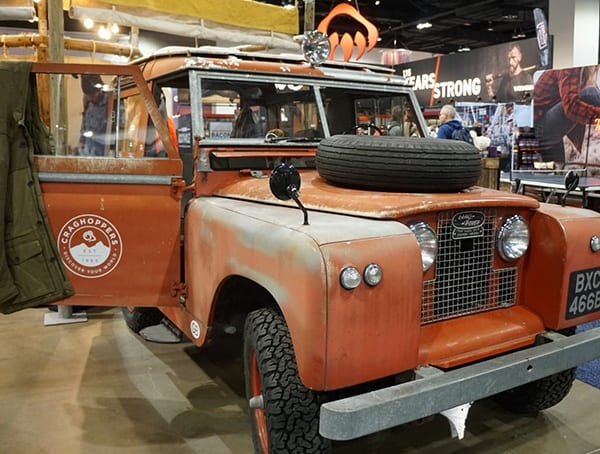 Outdoor Retailer Winter Market 2018 Vintage Land Rover Truck Display
