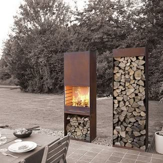 outdoor steel fireplace with woodstaples