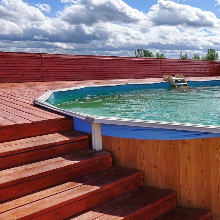 Outdoor Summer Above Ground Pool Wood Deck