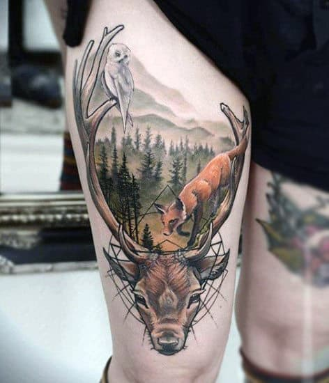 Outdoors Deer Tattoo For Men On Thigh In Color