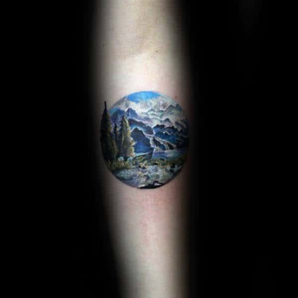 Outdoors Landscape Circle Male Arm Tattoos