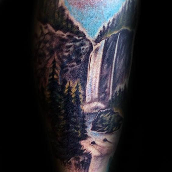 Outdoors Waterfall Male Tattoo Inspiration