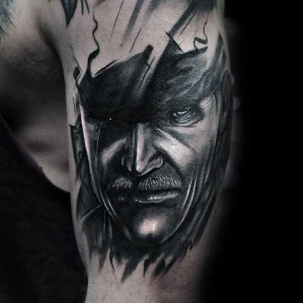 Outer Arm Black And Grey Ink Mens Tattoo With Metal Gear Design