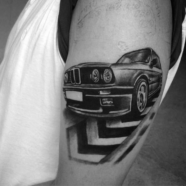 Outer Arm Bmw Tattoo On Man
