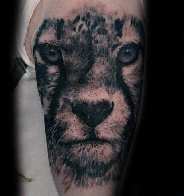 Outer Arm Cheetah Head Guys Unique Tattoo Ideas