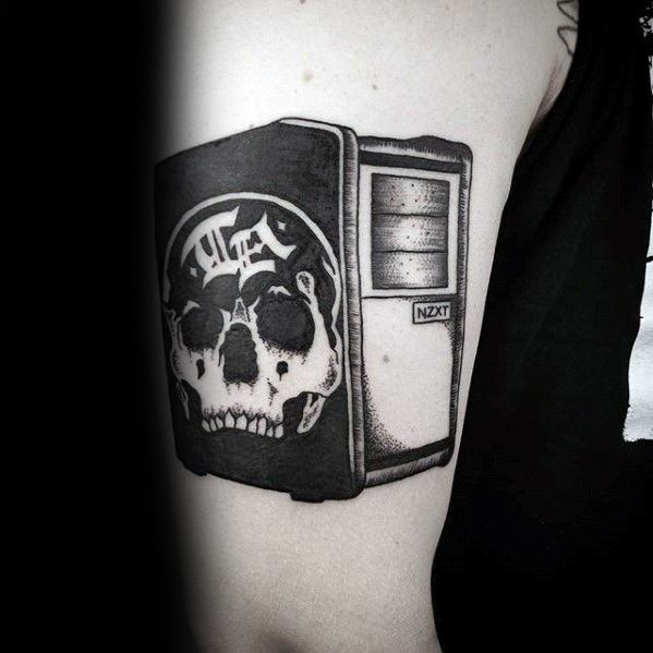 Outer Arm Computer Case Tattoo Designs For Guys