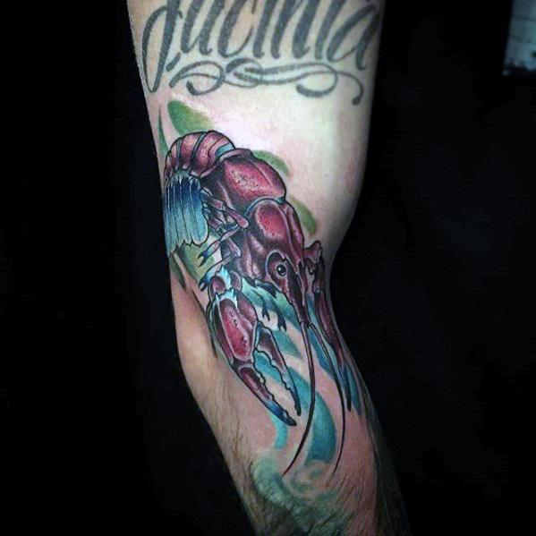 Outer Arm Crawfish Mens Tattoo Ideas