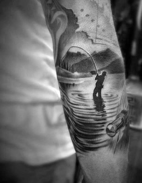 Outer Arm Fisher In River Male Tattoo Designs