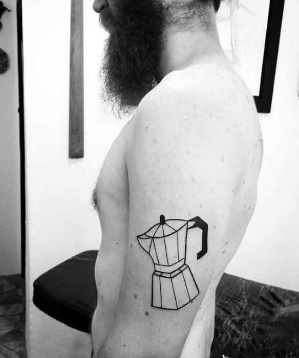 Outer Arm Geometric Coffee Mens Tattoo Ideas