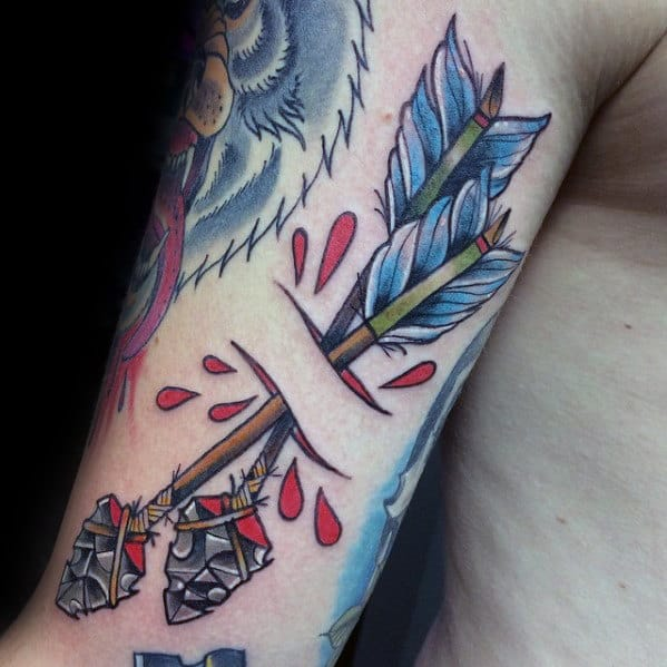 Outer Arm Guys Double Arrows Traditional Tattoo Design