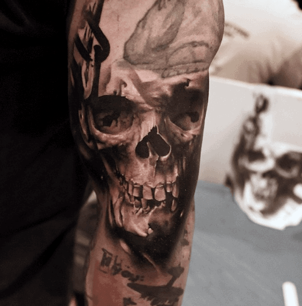 Outer Arm Guys Realistic Skull Tattoos