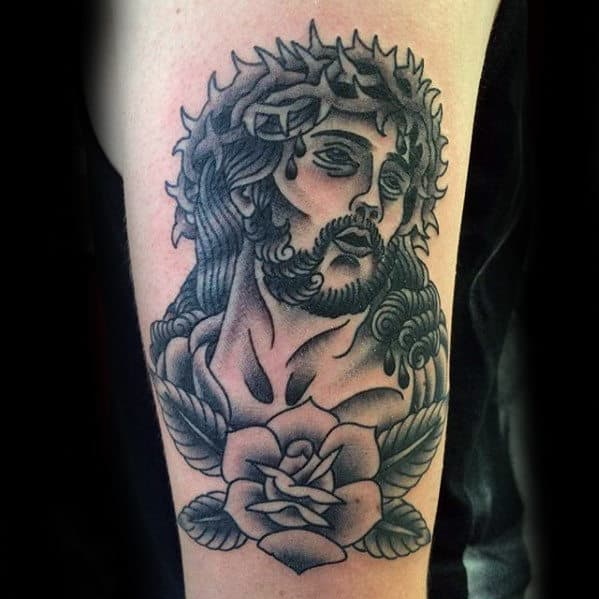Outer Arm Guys Shaded Traditional Jesus Tattoo With Old School Design