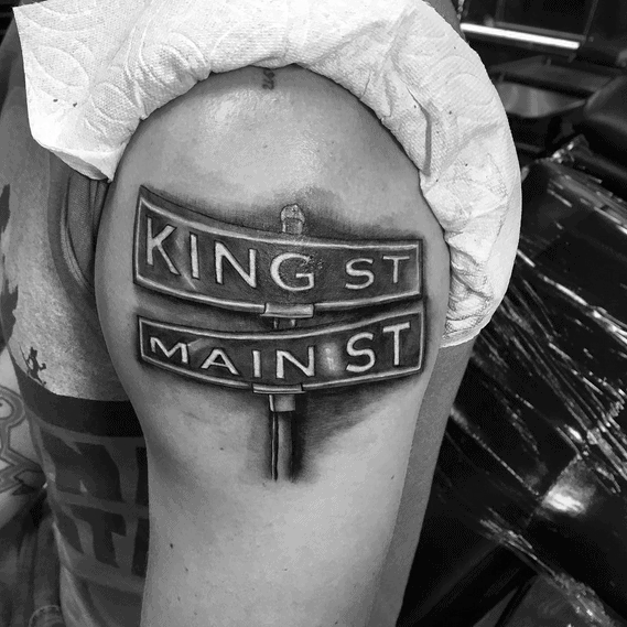 Outer Arm Hyper Realistic Street Sign Tattoos For Men