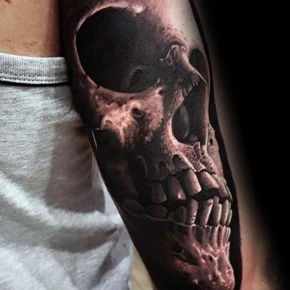 Outer Arm Hyper Realitic Guys Unique Skull 3d Tattoos