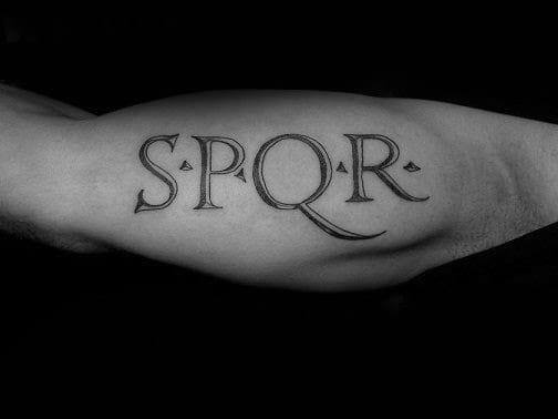 Outer Arm Manly Guys Spqr Letter Tattoo Design Ideas
