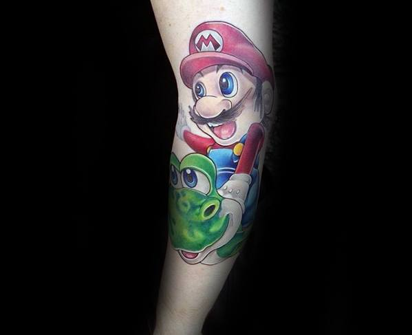 Outer Arm Masculine Yoshi Tattoos For Men