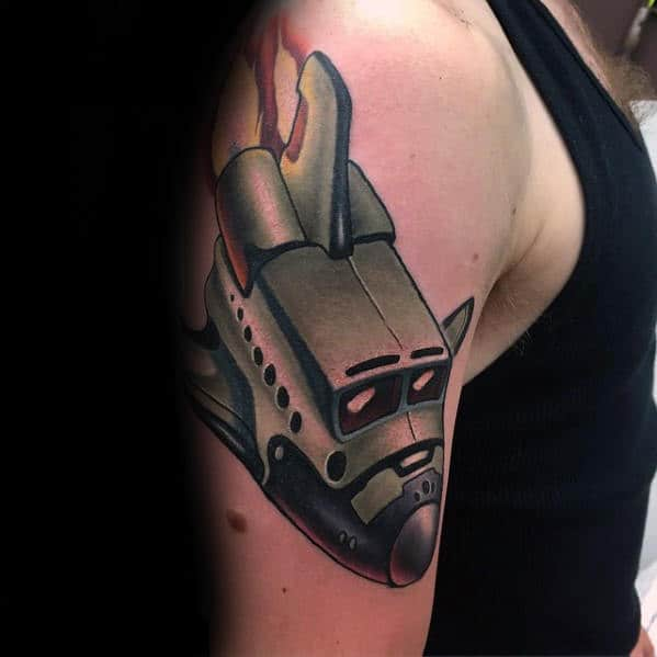Outer Arm Mens New School Spaceship Tattoo