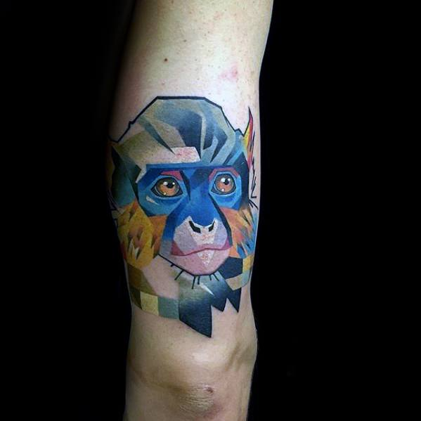 Outer Arm Monkey Pixel Tattoos For Gentlemen