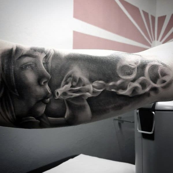 Outer Arm Realistic 3d Mens Bubble Tattoo Ideas