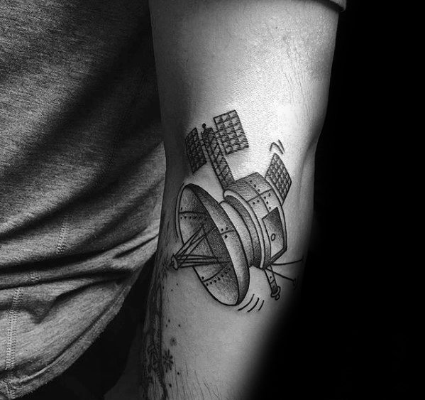 Outer Arm Satellite Tattoo Ideas For Males