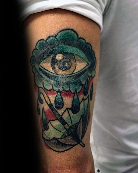 Outer Arm Tricep Eye With Tears Male Tattoo With Umbrella Design