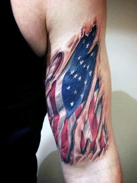 Outer Bicep Manly American Flag And Eagle Tattoos