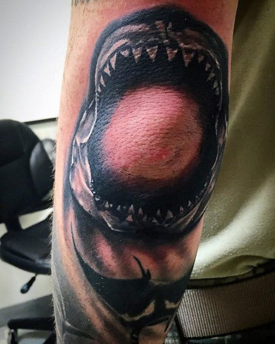 Outer Elbow Male Shaded Shark Jaw Tattoo Inspiration