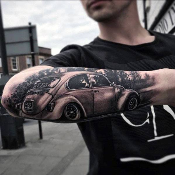 Outer Forearm 3d Artistic Male Volkswagen Wv Tattoo Ideas