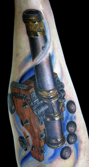 Outer Forearm 3d Cannon With Balls Unique Tattoos For Males