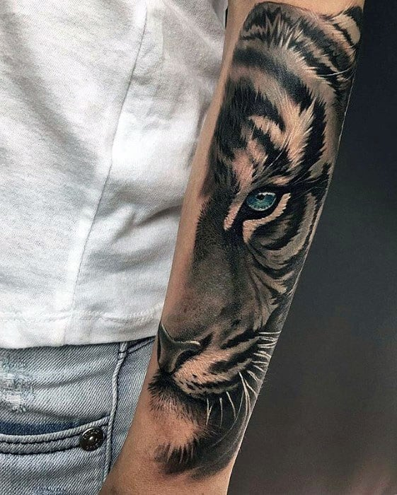 Outer Forearm 3d Creative Tiger Eyes Tattoos For Men