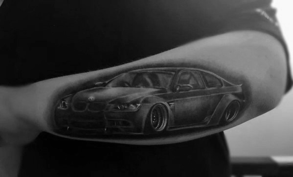 Outer Forearm 3d Realistic Sports Coupe Bmw Male Tattoos