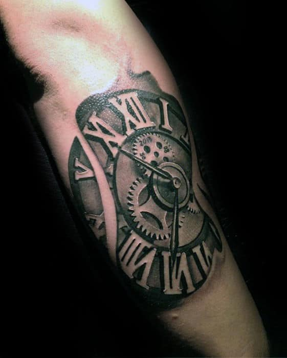 Outer Forearm 3d Roman Numeral Clock Tattoos For Men