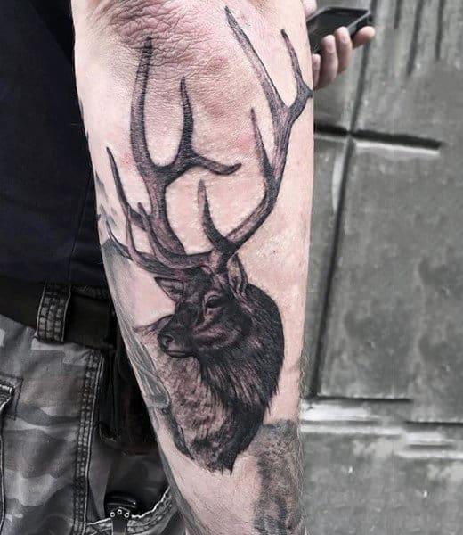 Outer Forearm Antler Deer Tattoos For Guys