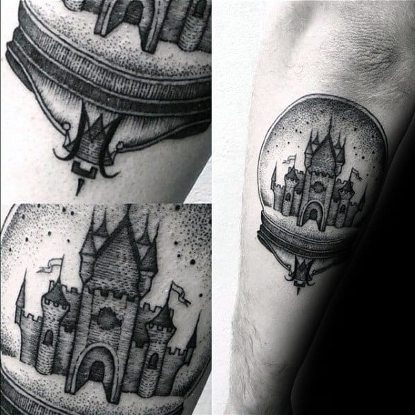Outer Forearm Awesome Crystal Ball Castle Tattoos For Men