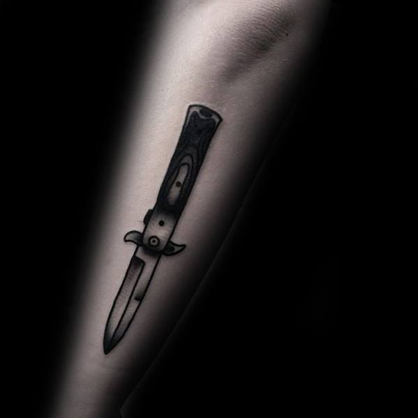 Outer Forearm Awesome Switchblade Tattoos For Men