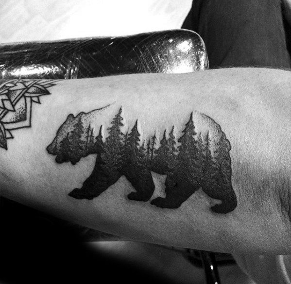 Outer Forearm Awesome Tree Line Tattoos For Men