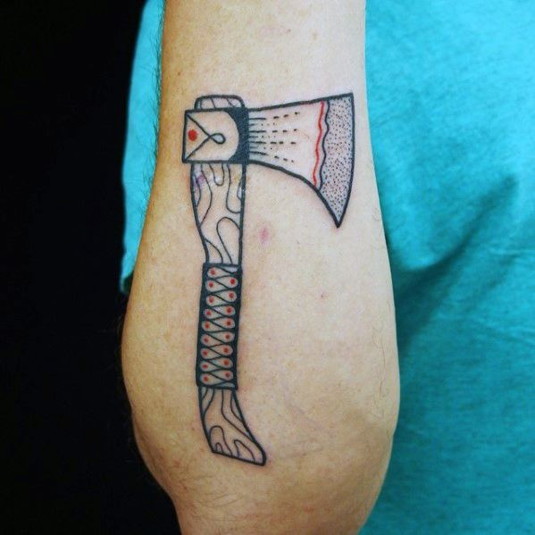 Outer Forearm Axe Small Manly Guys Tattoo Designs