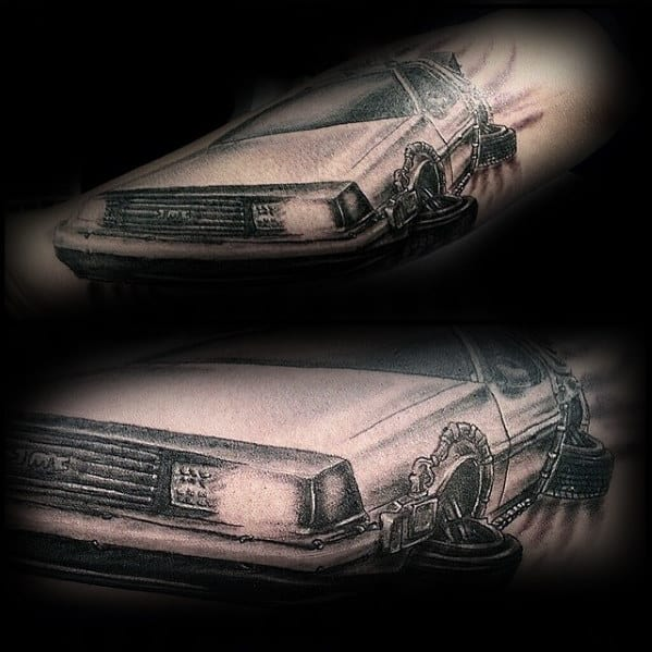 Outer Forearm Back To The Future Flying Delorean Mens Tattoo Ideas