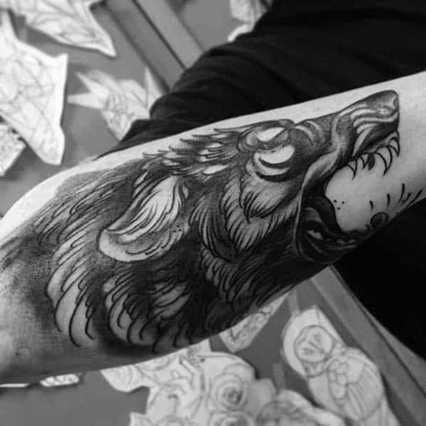 Outer Forearm Badass Mens Traditional Wolf Tattoo