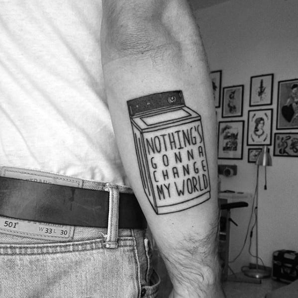 Outer Forearm Beatles Male Tattoo Designs
