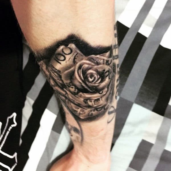 Outer Forearm Black Currency Money Rose Male Tattoo