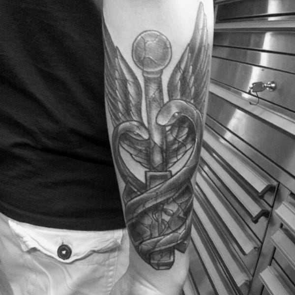 Outer Forearm Caduceus Tattoo On Gentleman